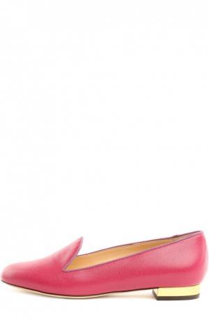 Кожаные лоферы ABC с аксессуаром Charlotte Olympia. Цвет: розовый