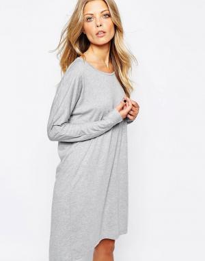 Vila Платье-футболка с длинными рукавами. Цвет: серый