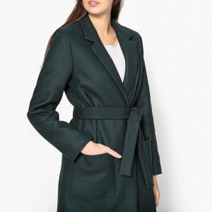 Пальто прямое с поясом MARCELIN SESSUN. Цвет: темно-зеленый