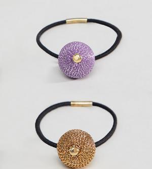 ASOS Набор из 2 резинок для волос с шарами цвета металлик DESIGN. Цвет: мульти