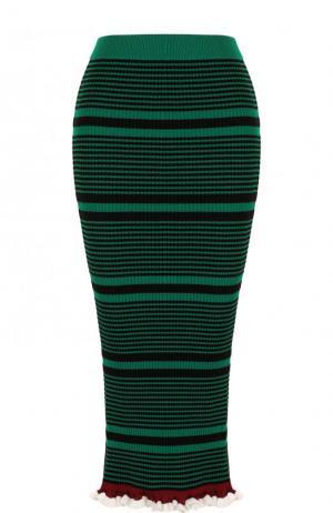 Вязаная юбка-карандаш в полоску Kenzo. Цвет: зеленый