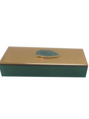 Шкатулка Дымчато-зеленый агат (24,5x9,5x4,5см, из стекла для мелочей) Magic Home. Цвет: зеленый, золотистый