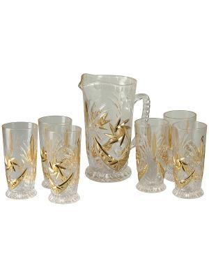 Набор для сока: кувшин 1200мл, 6 стаканов 250мл., в п/у. Elff Ceramics. Цвет: золотистый