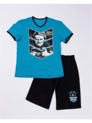 Комплект одежды: футболка, шорты Mark Formelle. Цвет: черный, морская волна