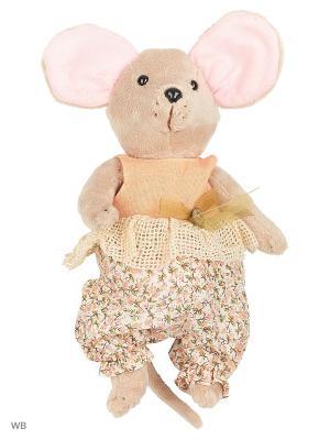 Мышка шарнирная Country mouse Тыковка в костюмчике Fluffy Family. Цвет: розовый, серый, оранжевый