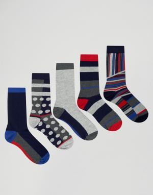 Urban Eccentric 5 пар носков в горошек и полоску. Цвет: мульти