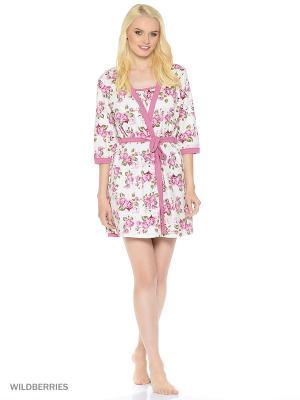 Комплект домашней одежды ( халат, ночная сорочка) HomeLike. Цвет: лиловый, молочный