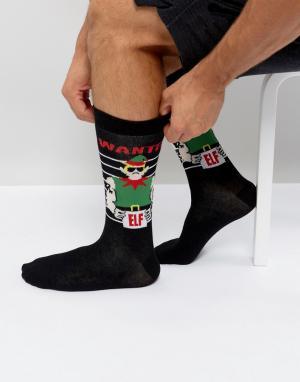 Urban Eccentric Новогодние носки с эльфами. Цвет: черный