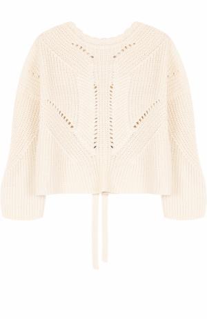 Пуловер фактурной вязки со шнуровкой на спинке Isabel Marant. Цвет: бежевый
