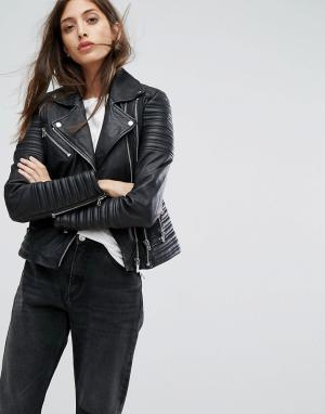 Goosecraft Кожаная байкерская куртка с отделкой в рубчик. Цвет: черный