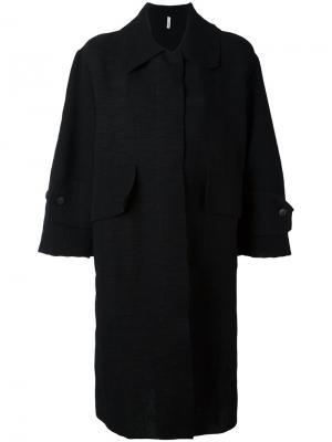 Пальто миди с рукавами три четверти Boboutic. Цвет: чёрный