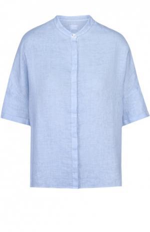 Льняная блуза прямого кроя с воротником-стойкой 120% Lino. Цвет: голубой