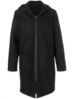 Пальто на молнии с капюшоном Hevo. Цвет: чёрный