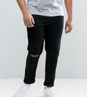 ASOS Супероблегающие рваные джинсы PLUS. Цвет: черный