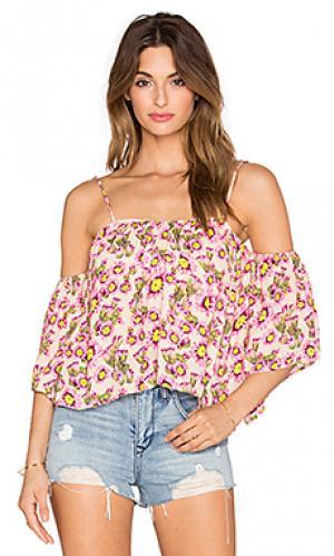 Топ flores Tori Praver Swimwear. Цвет: персиковый