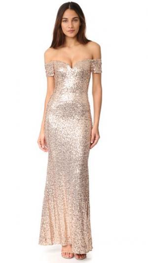 Вечернее платье с открытыми плечами и блестками Badgley Mischka Collection. Цвет: розовый