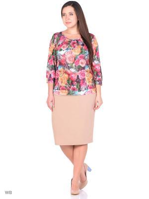 Блузка Королева цветов Castlelady. Цвет: зеленый, сиреневый, фиолетовый, светло-желтый, фуксия, коралловый, розовый, персиковый, кремовый