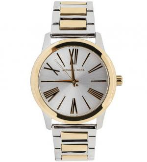 Часы круглой формы с широким металлическим браслетом Michael Kors
