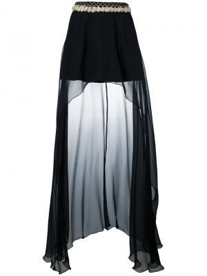 Асимметричная драпированная юбка Wandering. Цвет: чёрный