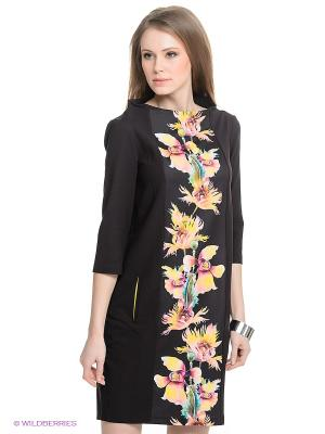 Платье Say. Цвет: черный, желтый