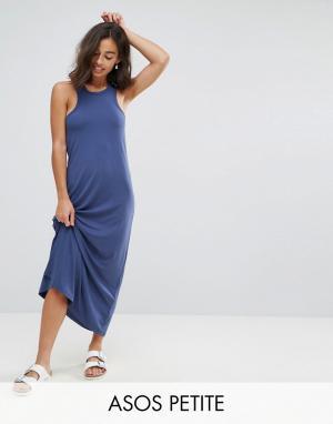 ASOS Petite Платье макси с лифом в спортивном стиле City. Цвет: темно-синий