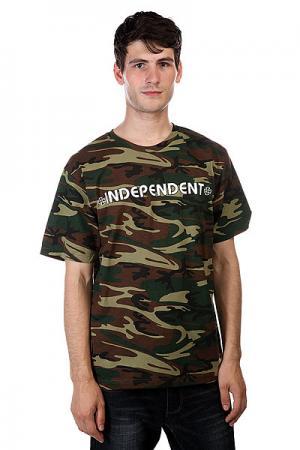 Футболка  Bar/Cross Camo Independent. Цвет: коричневый,черный,зеленый