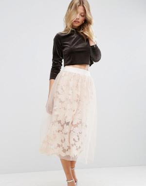 ASOS Кружевная юбка для выпускного с верхним слоем из тюля. Цвет: розовый