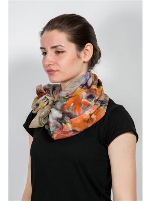 Платок Живописный букет, 90х90 см ArtNiva. Цвет: светло-серый, коралловый, светло-оранжевый