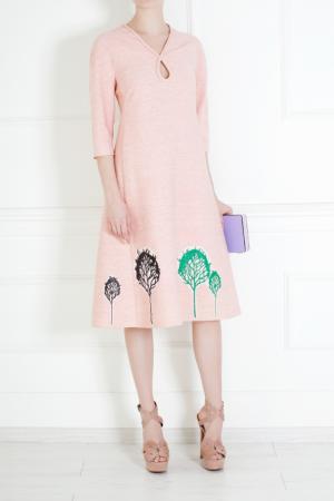 Платье из шелка и вискозы Vika Gazinskaya. Цвет: розовый, зеленый
