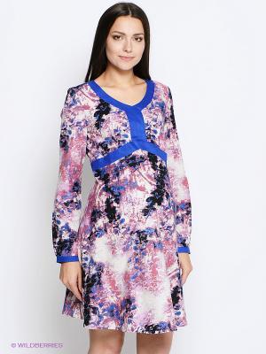 Платье MammySize. Цвет: синий, розовый