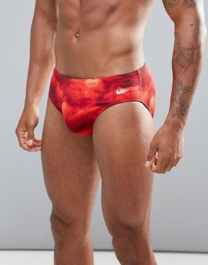 Nike Swimming Красные плавки с принтом NESS7103-614. Цвет: красный