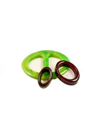 Пряжка Волшебная пуговица Евро-овал и кольцо для шарфа madam Пряжкина. Цвет: темно-бордовый, коричневый, салатовый