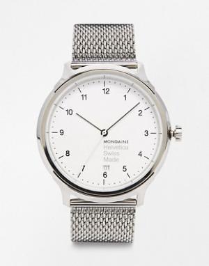 Mondaine Часы с сетчатым браслетом Helvetica. Цвет: серебряный