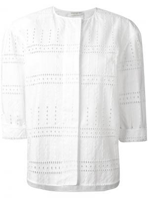 Блузка без воротника Veronique Leroy. Цвет: белый