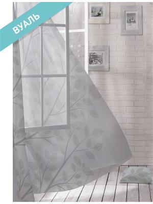 Комплект штор (2 шт.) Волшебная ночь, 150см*270см, ткань-Вуаль,  стиль-ЛОФТ, BIRD ночь. Цвет: серый