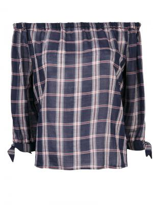 Клетчатая блузка с открытыми плечами Paige. Цвет: синий