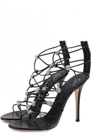 Кожаные босоножки с кристаллами на шпильке Giuseppe Zanotti Design. Цвет: черный