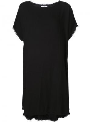 Платье шифт с необработанными краями 321. Цвет: чёрный