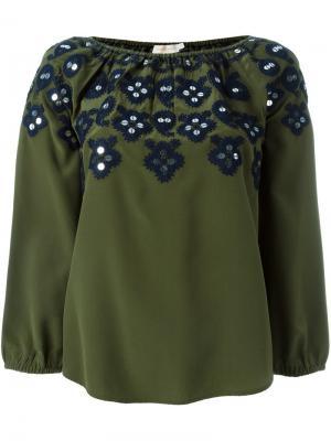 Декорированная блузка Tory Burch. Цвет: зелёный