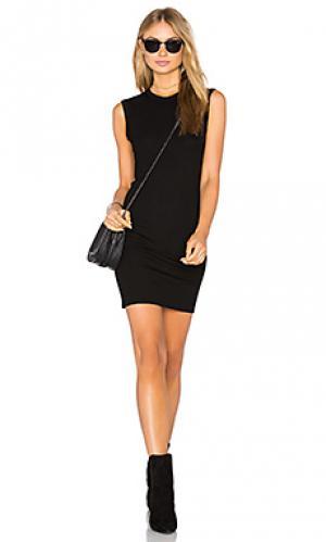 Мини платье в рубчик без рукавов Enza Costa. Цвет: черный