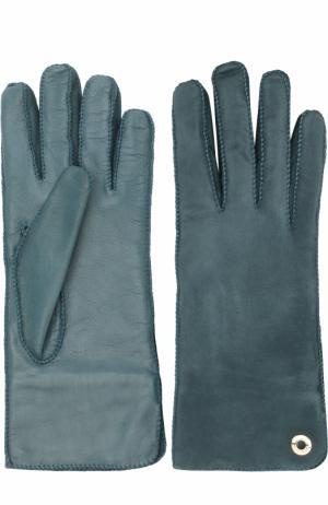 Перчатки Jacqueline из кожи и замши Loro Piana. Цвет: темно-зеленый