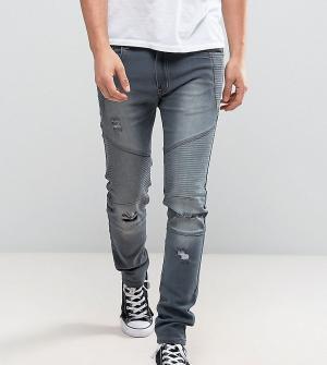 Liquor N Poker Серые выбеленные байкерские джинсы узкого кроя. Цвет: серый