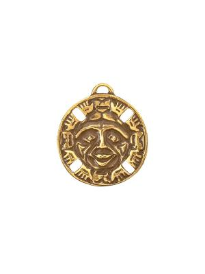 Амулет защитный Дух Бога Солнца Aztek. Цвет: желтый