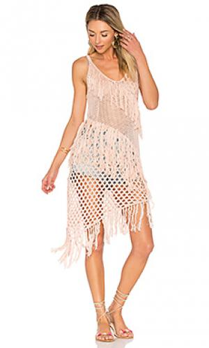 Кружевное платье с бахромой new romantics Suboo. Цвет: розовый