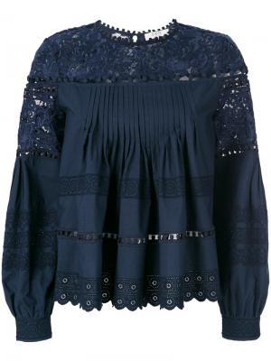 Блузка с вышивкой Sea. Цвет: синий
