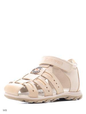 Туфли открытые Зебра. Цвет: бежевый