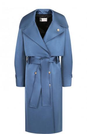 Однотонное пальто с поясом и кейпом Lanvin. Цвет: голубой