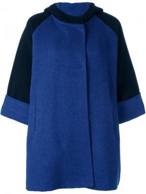 Двухцветное пальто с капюшоном Gianluca Capannolo. Цвет: синий