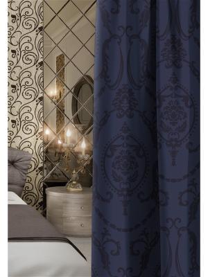 Штора  Волшебная ночь 150см*270см, ткань-Блэкаут, стиль-Версаль, дизайн-Dainty. Цвет: темно-синий