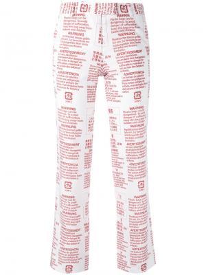 Классические брюки с графическим принтом Moohong. Цвет: белый